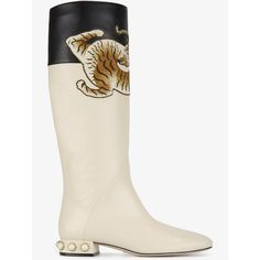 Gucci Ivory Pam Tiger Leather Knee Boots (€1.455) ❤ liked on Polyvore featuring shoes, boots, leather knee high boots, gucci boots, leather boots, leather knee boots and embroidered boots