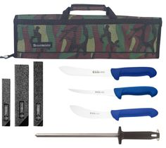 P3 Mad Cow Cutlery Jero Brand Commercial Grade Butcher Knife Set with Messermeister Camo Knife Case, 8 Piece. Mad cow cutlery exclusive commercial grade meat processing set (read long product description). Jero butcher series p3 knives feature German high-carbon stainless steel blades. Messermeister heavy-duty camo 8 pocket knife case with shoulder strap. Mundial polished butcher's steel keeps your edge straight and sharp while working. Mundial lined poly blade guards protects your…