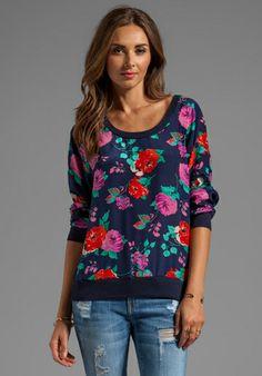 ELLA MOSS Rose Garden Pullover in Navy - Floral
