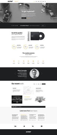 Hypno Modern Responsive WordPress Theme - Agency Website Design - Help you design professional website - Hypno Modern Responsive WordPress Theme Web Design Trends, Design Web, Layout Design, Design Blog, Web Layout, Page Design, Email Layout, Simple Wordpress Themes, Wordpress Blog