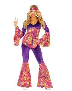 Purple Power 1960's Hippie Bell Bottoms Fancy Dress Womens Halloween Costume S-L #Franco