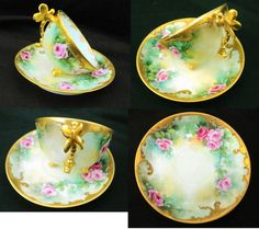 Limoges France - c.1920 + 1 DEMITASSE WITH DRAGON FLY HANDLE - PAIRPOINT. Demi cup measures about 3 across by 1 5/8 high. Saucer is about 4 3/8 across.  Saucer is SIGNED by artist. No chips, cracks or crazing. Gold trim is intact. Very good used condition with light wear. All pieces ping nicely.    Please read & see all my pictures as they are ALWAYS part of my description. If you require more pictures, please email me anytime before purchase.  IMPORTANT - ALL CANADIAN RESIDENTS...