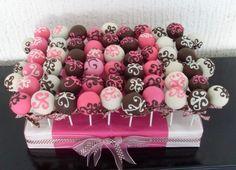 Wedding Cake Pops | pink and brown wedding cake pops