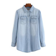 SheIn(sheinside) Pale Blue Bleached Denim Blouse With Pockets ($20) ❤ liked on Polyvore featuring tops, blouses, blue, pocket tops, embellished collar top, embellished collar blouse, blue blouse and collar top