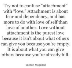 Difference between attachment and love