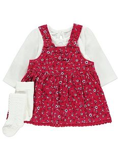 Get them fully kitted out in this oh-so-cute corduroy pinafore dress and long-sleeved top set. The button fastening pinafore is made unique by a crochet trim...