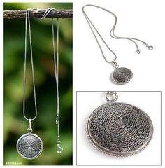 Silver filigree pendant necklace, 'Moon Shadow' - Handmade Sterling Silver Pendant Necklace