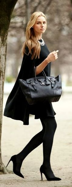 Ralph Lauren - Classic black silhouette, heels, tights, loose fitting top and an oversized bag. Yes please!