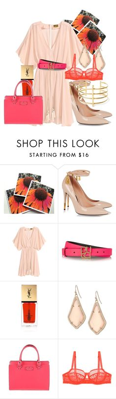 """Nude and Brights"" by ladyjcmuses ❤ liked on Polyvore featuring Tom Ford, Emilio Pucci, Yves Saint Laurent, Kendra Scott, Kate Spade, Huit and BauXo"