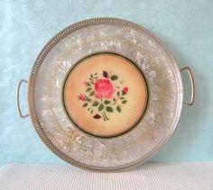Tablett Art Deco rund Spritzdekor 20er Jahre Rosen von Sweet Virginia auf DaWanda.com