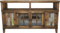 """Hacienda 60"""" Dark Rustic TV Stand w/ Painted Reclaimed Wood"""