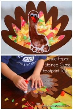 Thanksgiving is quickly approaching. I have wanted to do a Thanksgiving turkey craft with my kids. I finally came up with an idea I was excited to try. This Thanksgiving footprint turkey with tissue paper stained glass wings was built out of the desire to create something new but use techniques with which I am familiar.