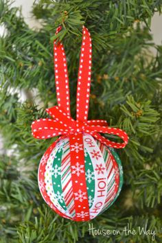 ribbon crafts | Christmas Ribbon Ornament Craft - House on the Way