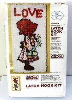 New Vintage 70 s Paragon Needlecraft Holly Hobbie Latch Hook Rug Kit 16  X 32