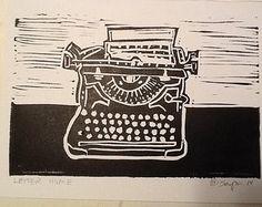 typewriter linocut – Etsy