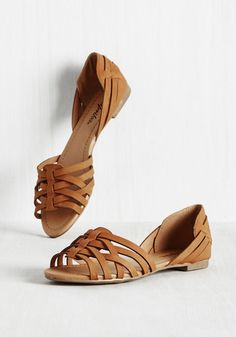 Temple of the Swoon Flat in Caramel. Let these festival-inspired flats add style to your summertime saunter. #tan #modcloth