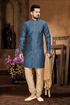 pakistani mens sherwani for wedding in Teal Blue