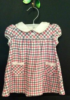 Tommy Hilfiger Baby 6-9 Mo M Month Girls Summer Cotton Infant Dress Red Blue