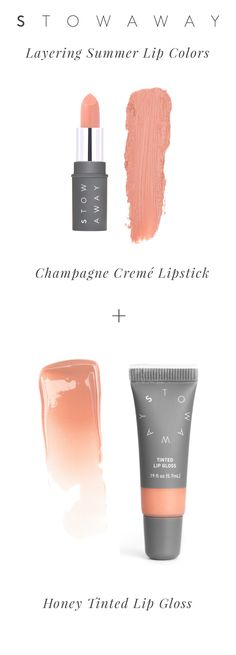 Wanted a nude lip with a hint of shine? Apply our Champagne Lipstick and then top with our Honey Tinted Lip Gloss. They are both pocket size wonders so you can carry both even in a clutch. #MakeupHack