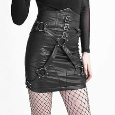 Punk Rave Cryptocracy high waist korte rok met corset koord detail en