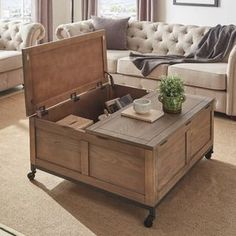 Shay Square Storage Trunk Cocktail Table with Caster Wheels by iNSPIRE Q Artisan - Interior Decoration Accessories coffee tables Rustic Coffee Tables, Diy Coffee Table, Decorating Coffee Tables, Coffee Table Design, Coffee Table Casters, Trunk Coffee Tables, Rustic Square Coffee Table, Refurbished Coffee Tables, Sofa End Tables