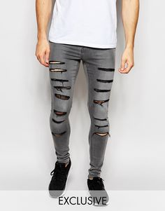 Waven Jeans Exclusive to ASOS Extreme Super Skinny Fit Mid Rise Elephant Grey Extreme Rips