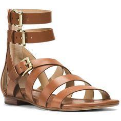 Michael Michael Kors Jocelyn Vachetta Leather Gladiator Sandals ($75) ❤ liked on Polyvore featuring shoes, sandals, luggage, ankle strap gladiator sandals, ankle strap sandals, greek sandals, ankle tie sandals and michael michael kors