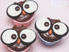 "( Puppenzimmer ): Eulen-Cupcakes ""huuuhuuu"""