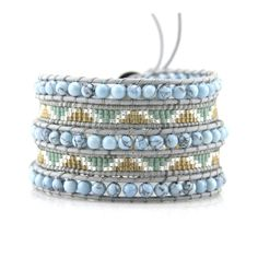 Light Turquoise and Miyuki Seed Beads on Gray