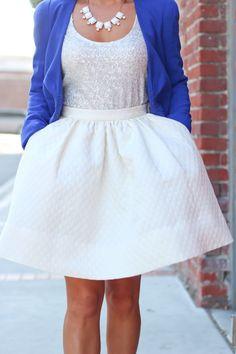 Sequin tank, polkadot jacquard flare skirt, cobalt blue blazer, white cabochon necklace - dressy outfit idea. Details here: http://www.stylishpetite.com/2013/12/cobalt-blue-sequin-tank-and-flare-skirt.html