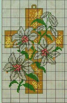 Cruz y flores en punto de cruz