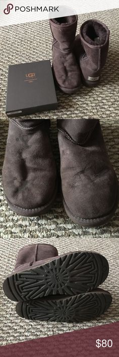 Chocolate Brown Classic Short Ugg Boots Hardly worn. They do need to be cleaned so I am including an official Ugg care kit (never used) with them. They have salt dried on them from last winter, should come out with the cleaner. All 100% authentic Ugg products. Make me an offer! UGG Shoes