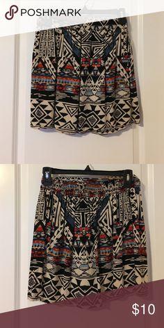 4e22b032bf High waisted Aztec printed skirt Multi-colored Aztec printed skirt.  Lightweight with elastic waistband. Pleated skirt. Skirts Mini