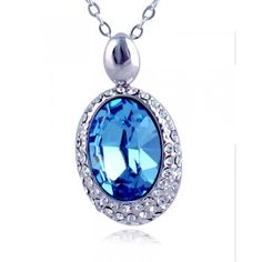 3 Captivating Azure Crystal Pendent Silver Statement Necklace3