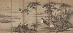 松に麝香猫図屏風