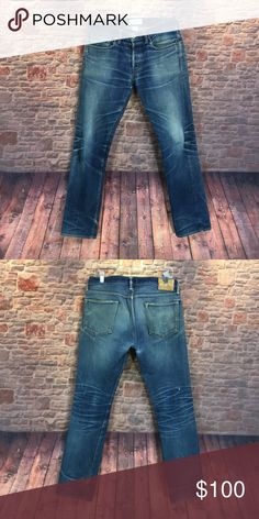 "⭐️Men's Simon Miller Selvedge denim jean size 33 ⭐️Men's Simon Miller Selvedge denim jean size 33  Measurements are approximate  Inseam 33"" Rise 9 1/2"" Leg width opening is 7 1/2"" Waist laying flat 16"" across   Note* jean is Selvedge denim and has been worn numerous times without washing. Please follow designers instructions on caring for these jeans. Broken in with user fade and distress Simon Miller Jeans Slim Straight"