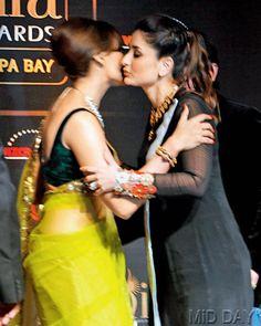 Bipasha Basu, Kareena Kapoor Khan kiss and make up. #Style #Bollywood #Fashion #Beauty