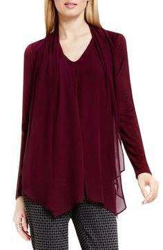 Vince Camuto Chiffon Overlay Mixed Media Top available at #Nordstrom