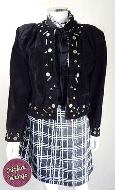 Vintage 1980s Black Suede Gold Coin Jacket  | Vintage Jacket | Vintage Statement Jacket | 1980s Vintage Jacket
