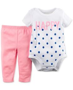Carter's Baby Girls' 2-Piece Dot-Print Bodysuit & Leggings Set    macys.com