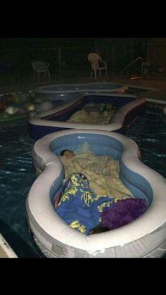 Swimming pool sleepover!