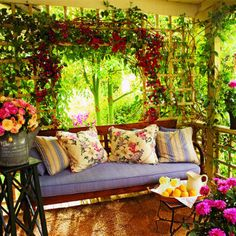 Decoration, Remarkable Fresh Summer Small Porch Design With Outdoor Designer Sofa Pillows Besides Garden Tree Decorations: 36 Enjoyable Small Summer Front Porch Decorating Ideas Outdoor Rooms, Outdoor Living, Outdoor Decor, Outdoor Gardens, Porch And Terrace, Deck Patio, Gazebos, Traditional Porch, Summer Porch