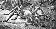 Illustration of Arachne by Gustave Doré appearing in Dante's Purgatorio of the Divine Comedy series, Gustave Dore, Devine Comedy, Laurent Durieux, Saint Dominique, Dantes Inferno, Arte Obscura, Art Anime, Illustration, Gravure