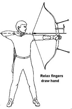 Ten Basic Steps in Archery: Step 9 Release - a) Keep pulling the shoulder blade towards each other, while relaxing the fingers of the drow hand. - b) A relaxed bow hand will automatically move backwards. - c) Relax your bow hand. Let the bow drop.