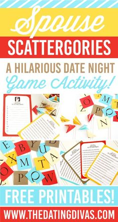 Fun date night idea with my Spouse! Based on the hit game Scattergories - all of these questions have to do with your spouse! So fun! www.TheDatingDivas.com
