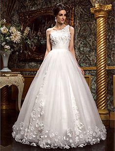 A-Line/Princessのワンショルダーの床長さのチュールウェディングドレス