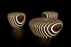 Bright Woods Ottomans and Stools Light up at Night