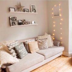 Floating shelves above sofa...