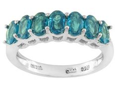 1.45ctw Oval Neon Apatite Sterling Silver 7-stone Band Ring