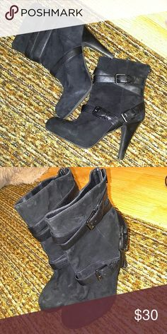 Suede boots by Victor Alfaro. Worn twice. Im not a fan or high heels. Shoes Heeled Boots